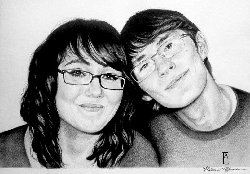 Портрет, выполненный на заказ. Сухая кисть, формат А3. Автор – Екатерина Преснова