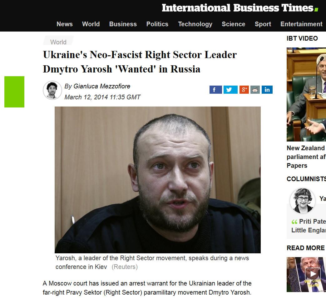 Британское СМИ International Business Times назвало Правый Сектор нео-нацистской оранизацией